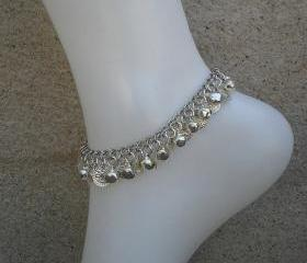 Ankle bracelet Silver bell and coin charm anklet on silver plated chain with toggle clasp (Ringing Anklet)